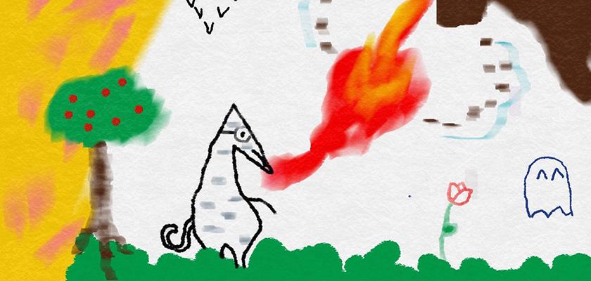 Vuurspuwende draak, getekend door Julia Teekens
